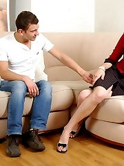 Awesome babe has got rubber surprise under her skirt for a guy to suck on
