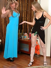 Horny sissy in a lush blue evening dress surrenders to hot strap-on fucking