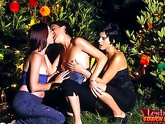 Three cute lesbian amateurs getting each other with strapon dildos