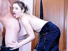 Nerdy guy gets dominated and banged by his strap-on armed female co-worker