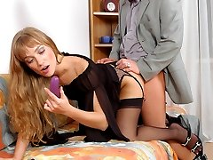 A guy getting his ass packed with strap-on in hot intercourse with a cutie