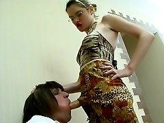 Sissy French maid prefers wild strap-on fucking to his boring daily chores