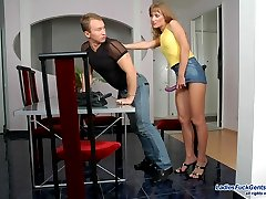 Vivacious babe pulling up her skirt for wild strap-on fuck with muscle stud