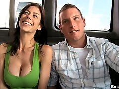 We tell him we are doing a documentary and get him on the bus. Alexis pulls out her massive tits...
