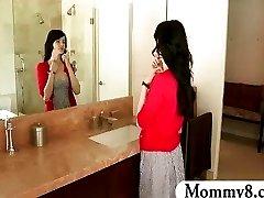 Stepmom MILF eats the cum of a teenage boy