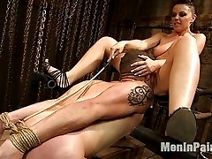 Mistress Penny Flame puts hungry masochist Wolf Hudson in his place right away on his knees with...