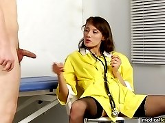 Obedient male examinee of a bad lusty nurse