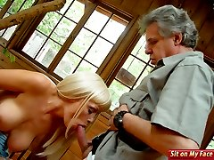Mature dude licks blondies pussy and sucks her lips while she sits on his face