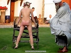 2 brats receiving a merciless caning for stealing money