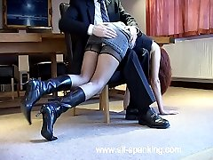 Very cute office girl spanked with her knickers down in the boardroom - bruised buttocks