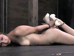Calico Struggles With Nipple Clamps in Unique Bondage