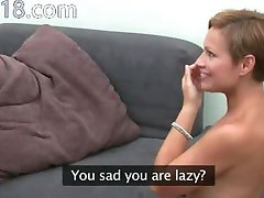 Hot woman tease with toy on couch