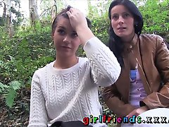 Girlfriends Babes get dirty in cabin sextape