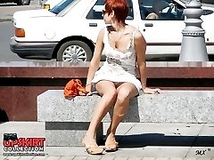 Brunette and redhead flash upskirt