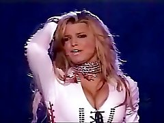Bimbo blonde Jessica Simpson in a corset