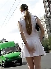 She has no idea to get upskirt spied