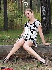 Luxurious girls high heeled up skirt