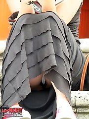 Horny view on upskirt pussy and butt