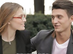 Smart sexy babe wearing glasses fucking her dream man