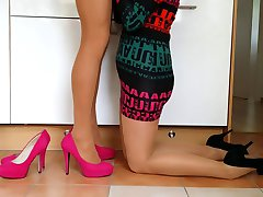 Crossdresser with wife in pantyhose ( surprise from wife )
