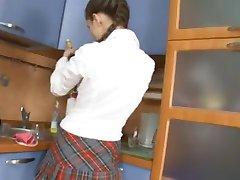 schoolgirl ass fucked in the kitchen