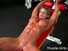 Massive muscular ripped Female Bodybuilder gym workout