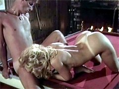 Enjoying sex on pool table