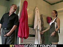 Horny dad licks and fucks son's GF sweet pussy