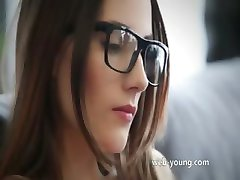 hot brunett with glasses