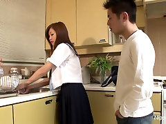 Sweet Asian schoolgirl takes a dick in her mouth