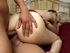 Young girl with glasses gets two dicks in her asshole!