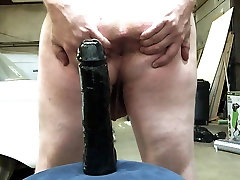 Taking Huge DIldo Deep in My Ass with Gape