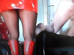 Sexy me wearing black Stockings and orange Wellingtons