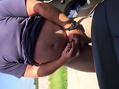 Jerking and Cum eating beside the road.