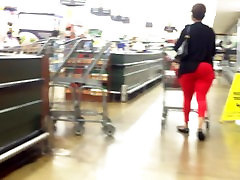Sexxy Mature Lady Red Tight Pants Extreme VPL.