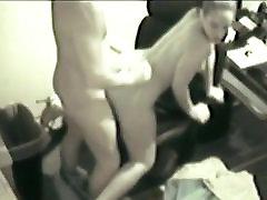 Secretary slut swallows her bosses load on security
