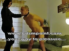 Mistress Wanda and CBT whipping for her slave