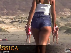 Jessica&039;s coastal walking in tight jean shorts. Awesome butt