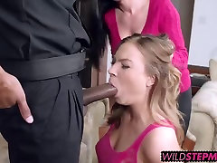 Horny Mom teaches NOT her daughter how to suck cock properly