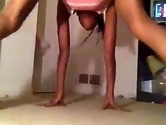 Slim girl panties barely on twerking