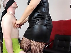 Mistress Lucrecia smothering her slave by her breast