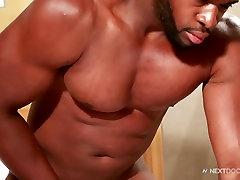 Next Door Ebony Darian And Jerking Off His Fat Black Cock