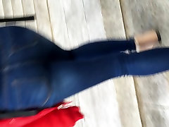 Teen tight ass in jeans going up the stairs