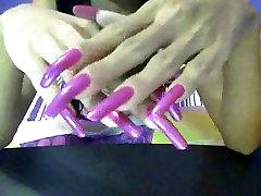 Long beautiful pink fingernails