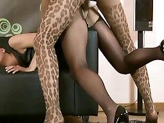 Two hot girls in pantyhose enjoy strapon