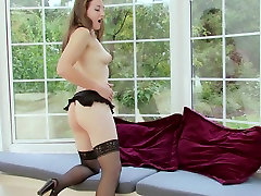 Long haired brunette young MILF in lazy sexy solo