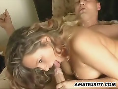 Amateur girlfriend home action with cum on tits