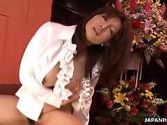 Sexy Yuka with big juicy boobs rides a sex toy