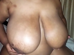 Black BBW Playing With Her Titties