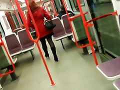candid pantyhose in tram 570